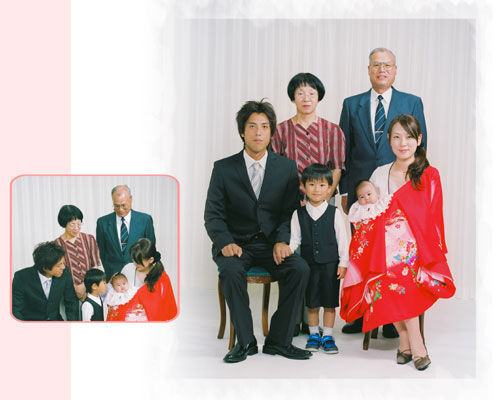 6人で家族写真