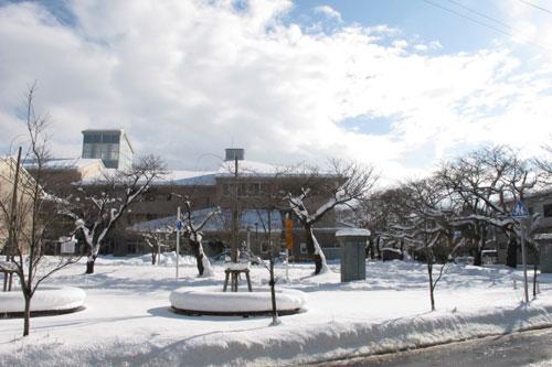 水原小学校裏門冬