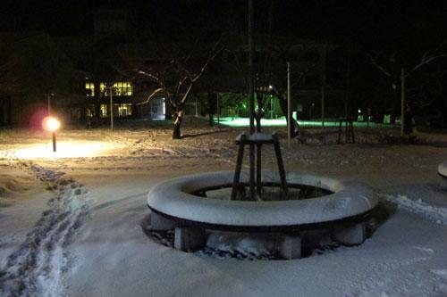水原小学校裏門冬・夜